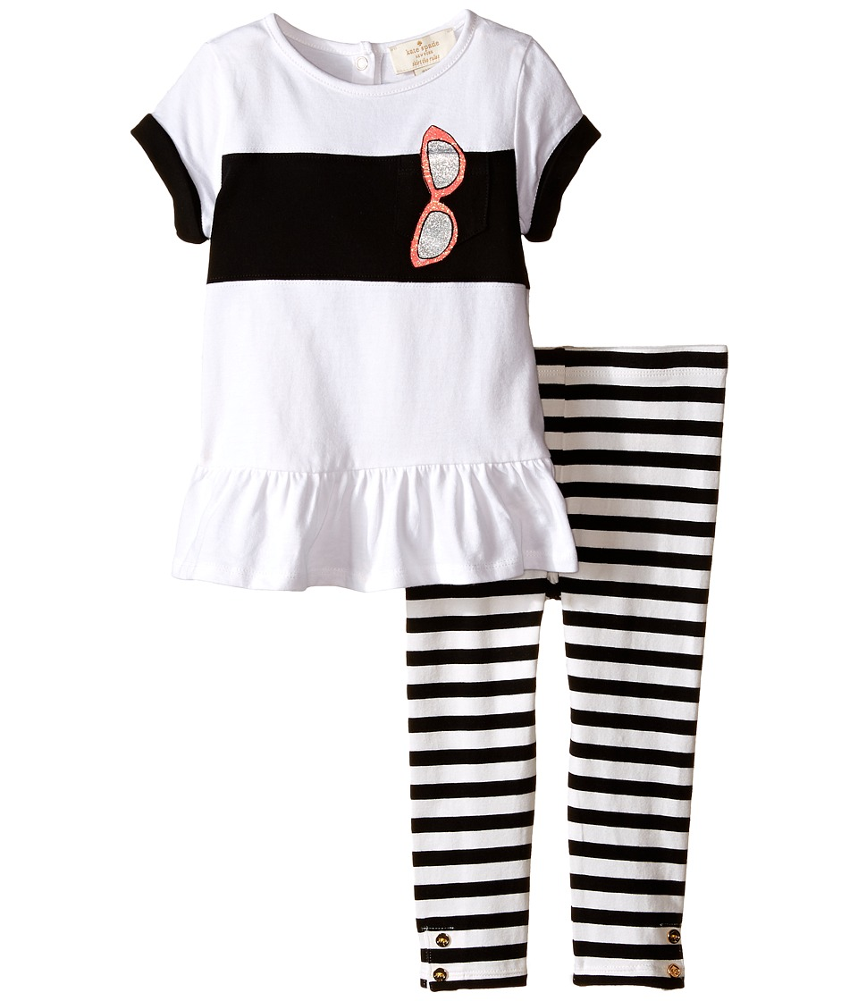 Kate Spade New York Kids - Trompe L'Oeil Sunglass Tunic and Leggings Set (Infant) (Black/Fresh White) Girl's Active Sets
