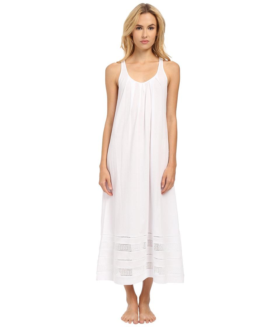 Oscar de la Renta - Spa Pima Cotton Knit Long Gown (Signature White) Women's Pajama