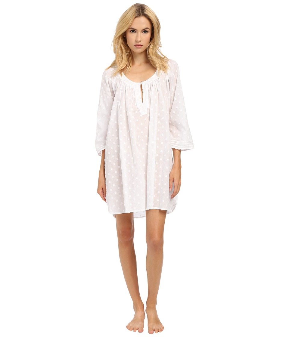 Oscar de la Renta - Spa Short Gown (Clip Dot White) Women's Pajama