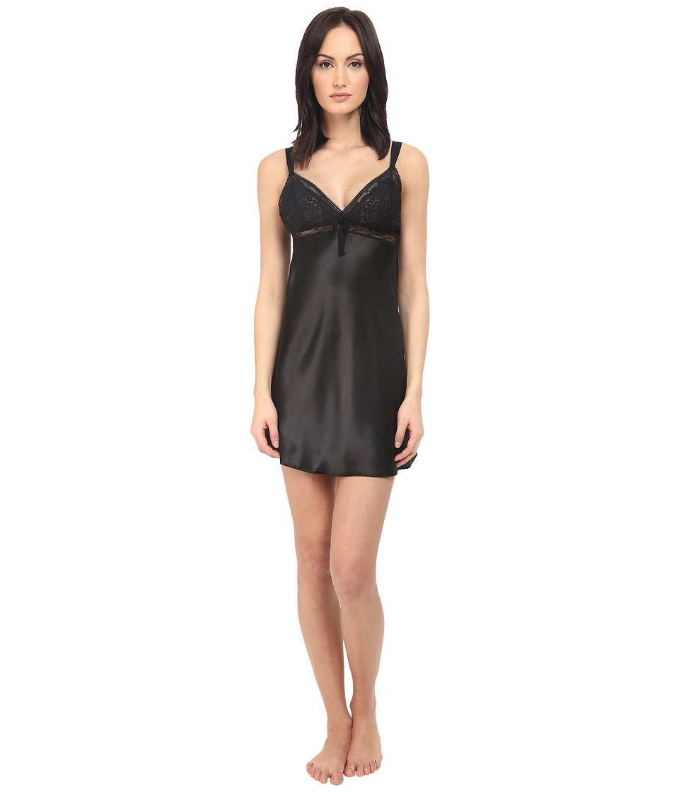 Oscar de la Renta Pink Label - Short Chemise (Black) Women's Pajama