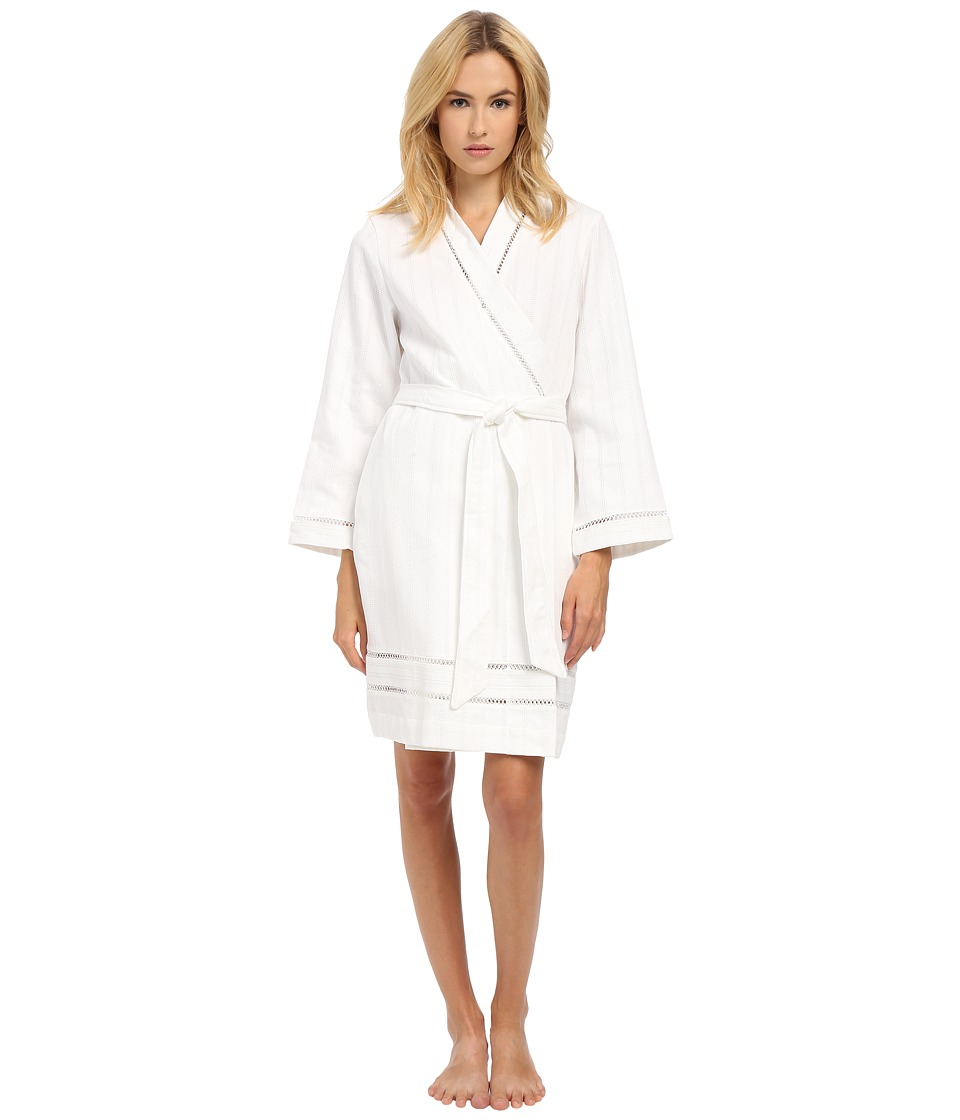 Oscar de la Renta - Spa Brushed Cotton Stripe Waffle Short Robe (White) Women's Robe