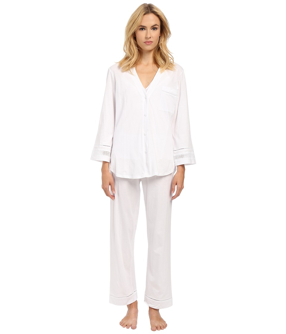 Oscar de la Renta - Spa Pima Cotton Knit Three-Piece PJ Set (Signature White) Women's Pajama Sets