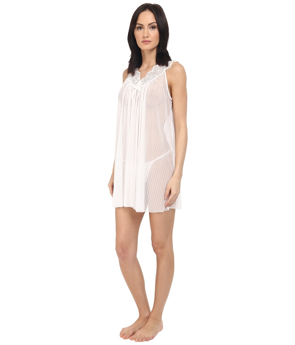 Oscar de la Renta Pink Label - Mesh Chemise (Pearl) Women's Pajama