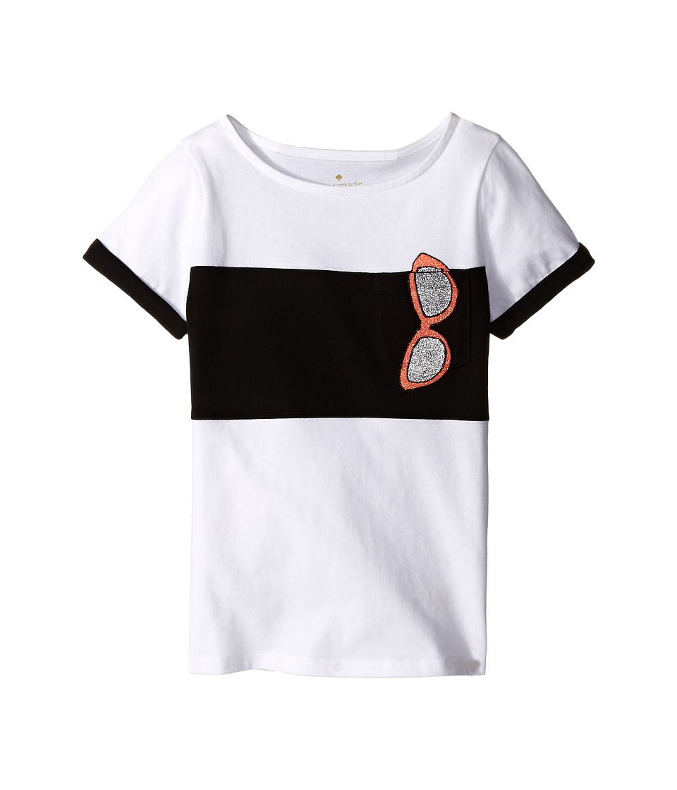 Kate Spade New York Kids - Trompe L'Oeil Sunglass Tee (Toddler/Little Kids) (Fresh White) Girl's Short Sleeve Pullover