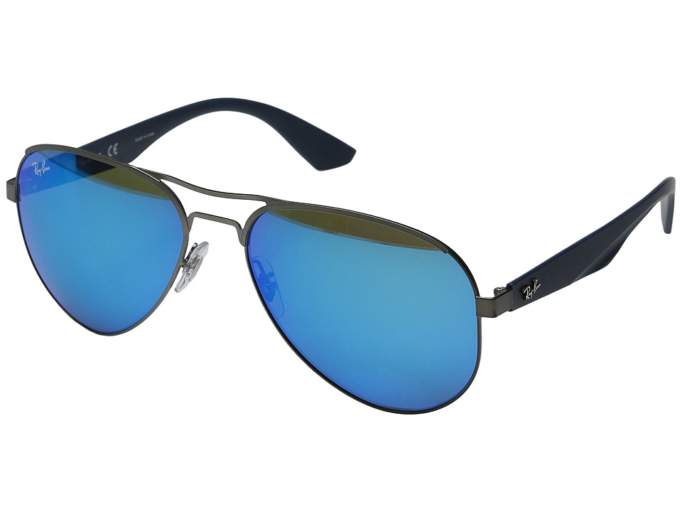 Ray-Ban - RB3523 59mm (Matte Gunmetal/Matte Blue/Light Green Mirror Blue) Fashion Sunglasses