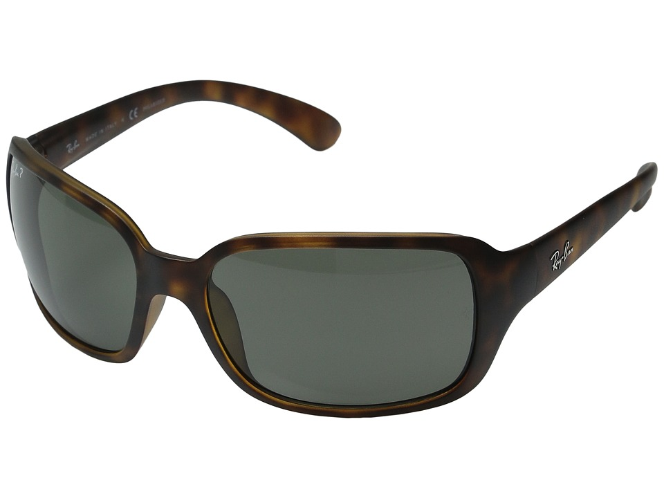 Ray-Ban - RB4068 Polarized (Matte Havana/Green) Sport Sunglasses