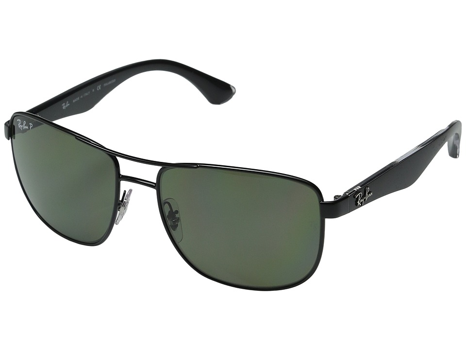 Ray-Ban - RB3533 57mm (Black/Top Matte Transparent/Green) Fashion Sunglasses