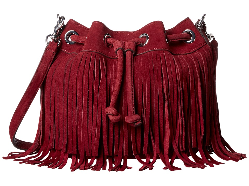 Rebecca Minkoff - Fringe Mini Fiona Bucket (Port) Handbags