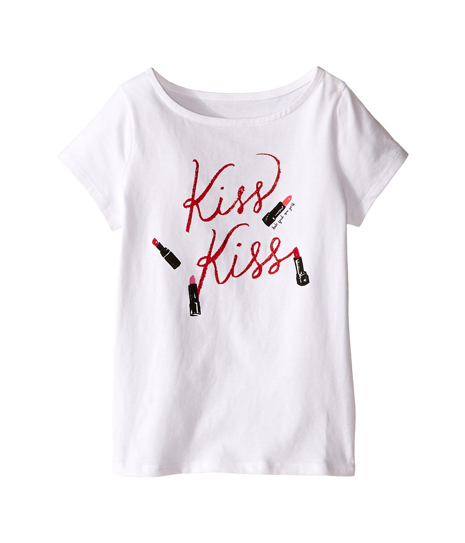 Kate Spade New York Kids - Kiss Kiss Tee (Toddler/Little Kids) (Fresh White) Girl's T Shirt