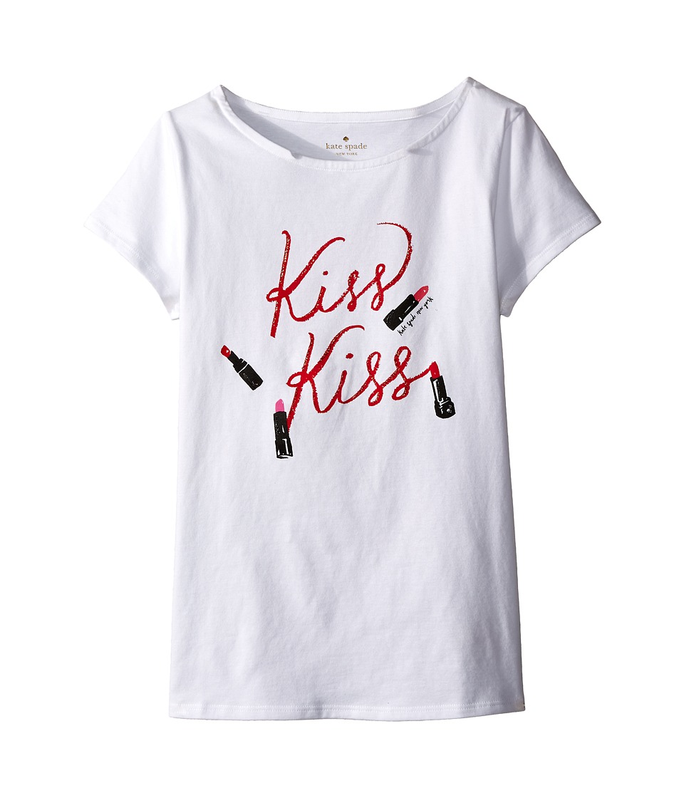 Kate Spade New York Kids - Kiss Kiss Tee (Big Kids) (Fresh White) Girl's T Shirt