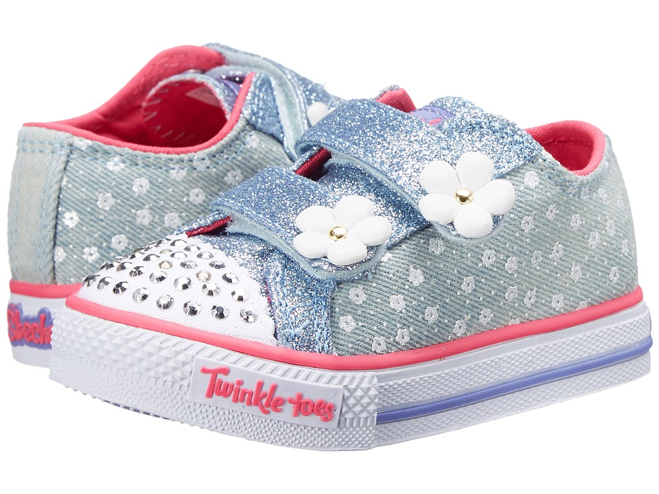 SKECHERS KIDS - Twinkle Toes - Shuffles 10621N Lights (Toddler/Little Kid) (Denim) Girl's Shoes