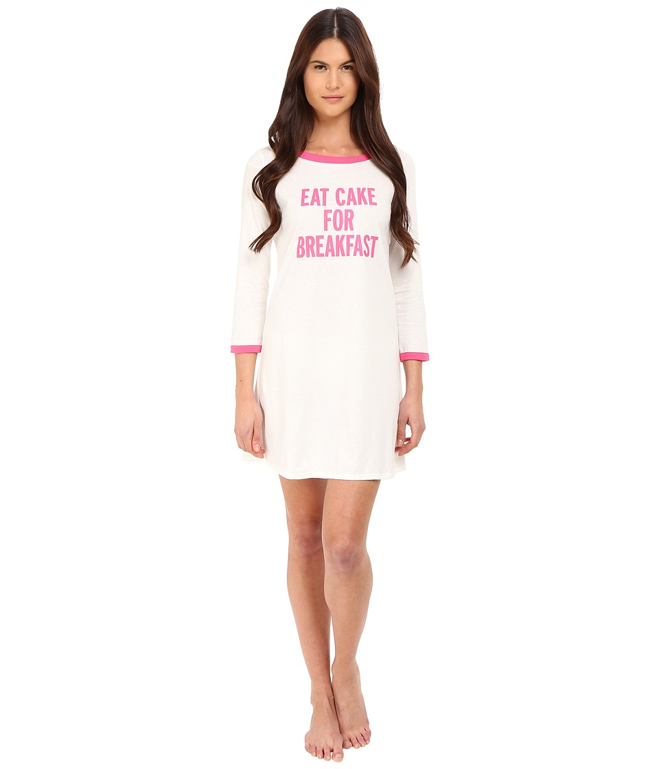 Kate Spade New York - Eat Cake For Breakfast Sleep Shirt (Off White) Women's Pajama