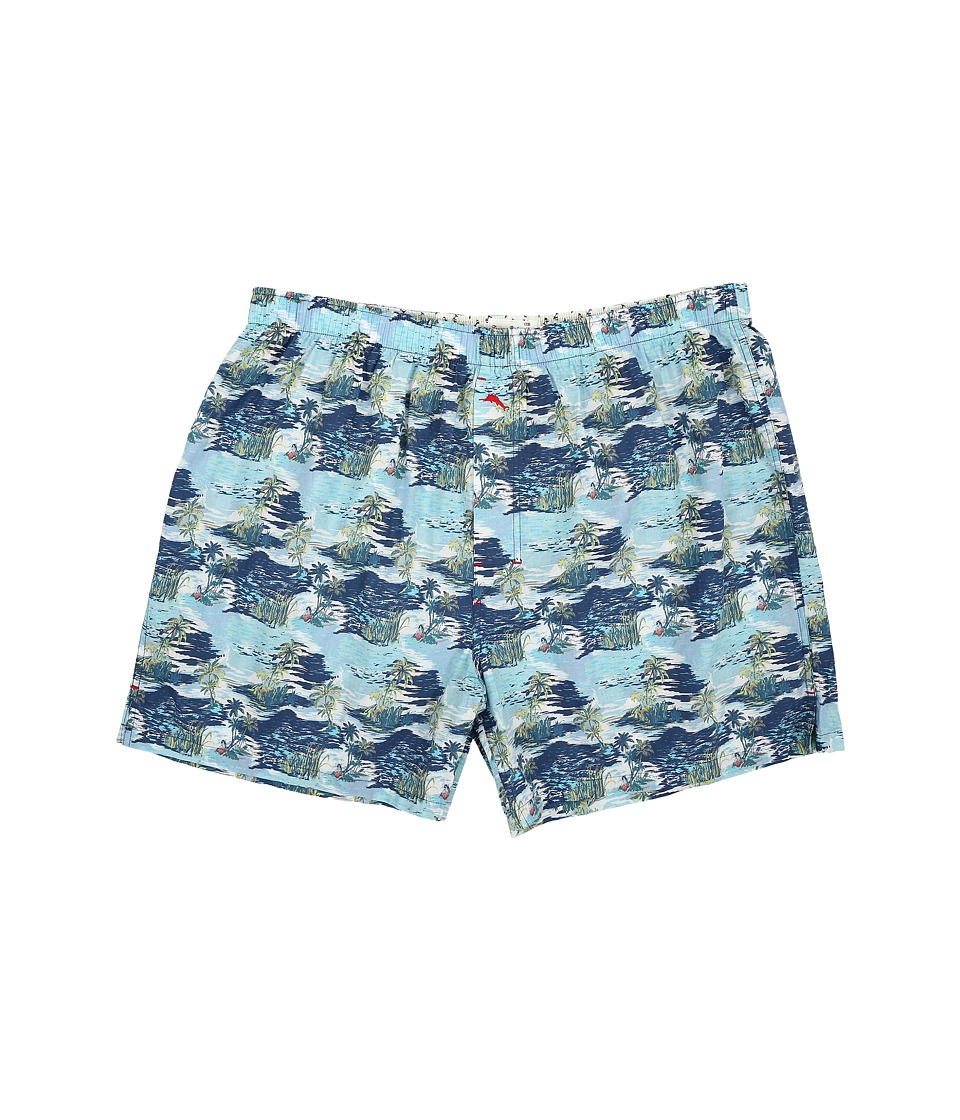 Tommy Bahama - Big Tall Island Washed Cotton Woven Boxer (Palm Island/Blue Print) Men's Underwear
