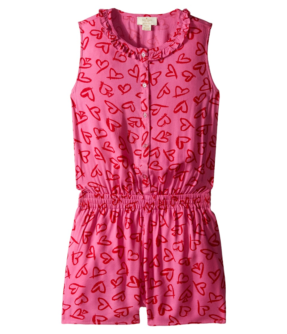 Kate Spade New York Kids - Heart Romper (Big Kids) (Lipstick Hearts Print) Girl's Jumpsuit & Rompers One Piece