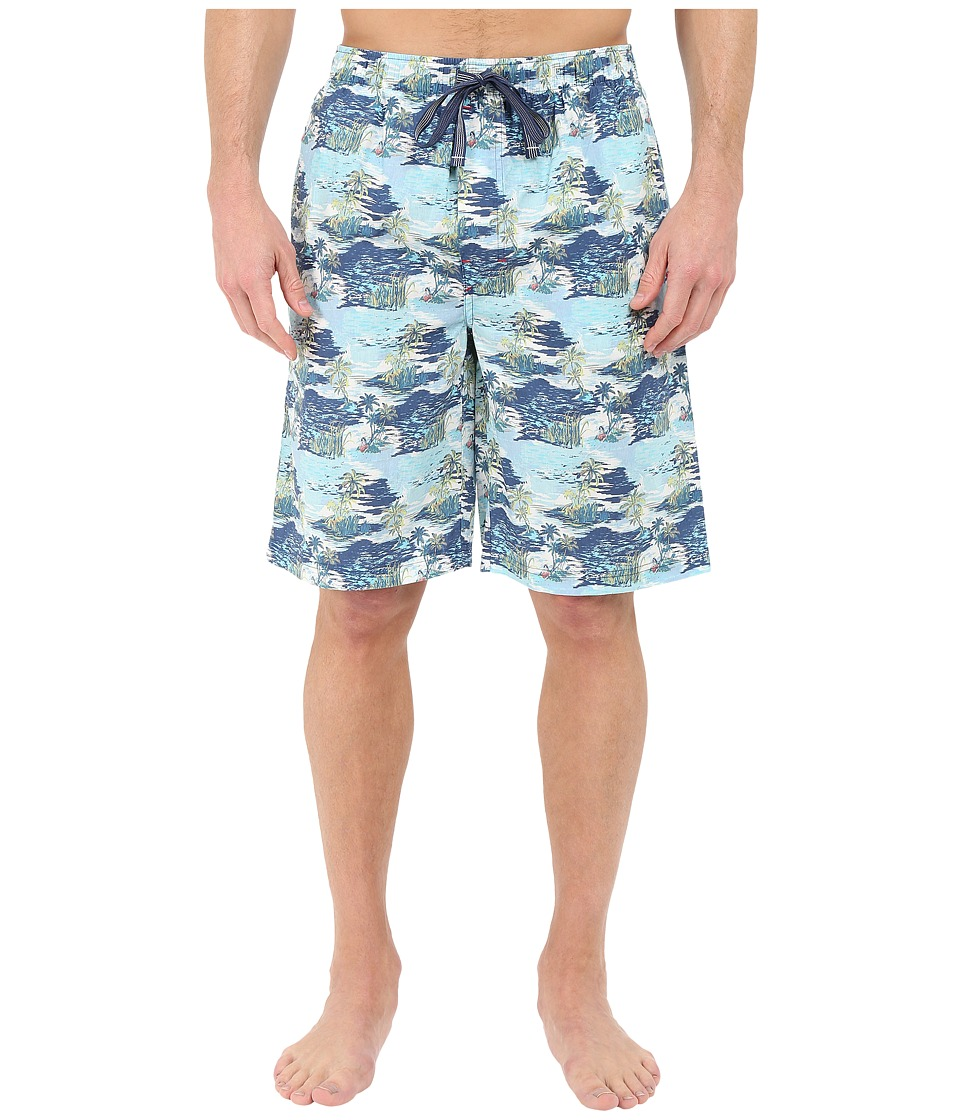 Tommy Bahama - Island Washed Cotton Woven Jam Shorts (Palm Island/Blue Print) Men's Pajama
