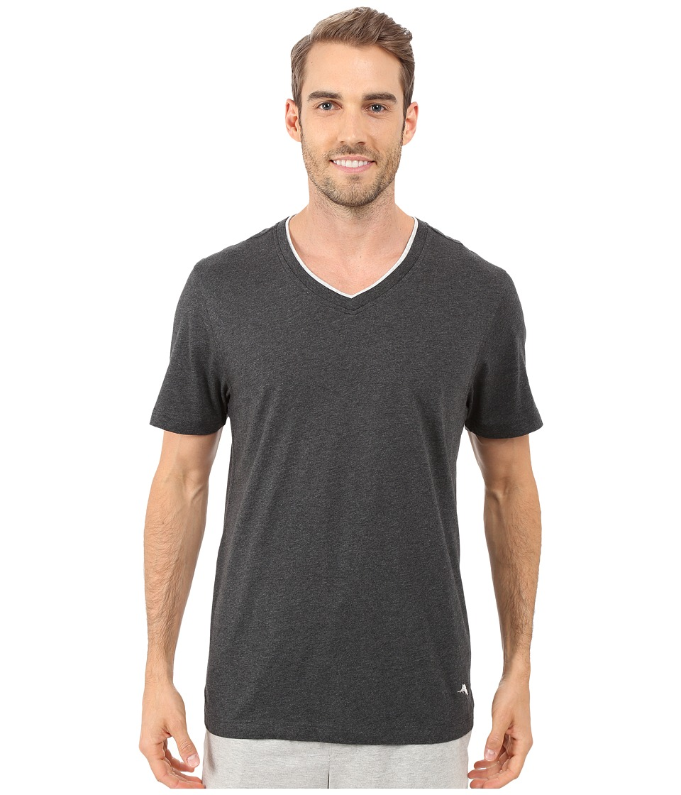 Tommy Bahama Heather Cotton Modal Jersey Tee (Black Heather 2) Men