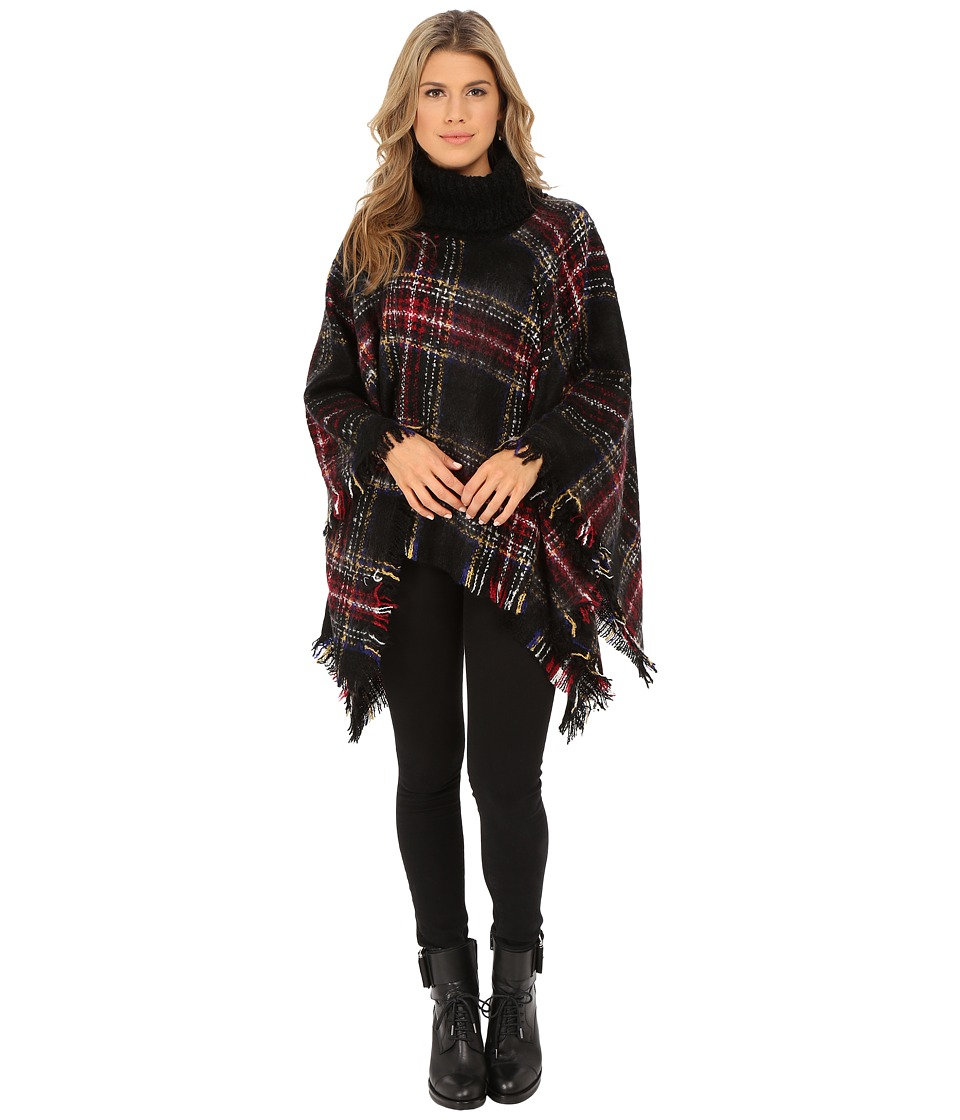 Steve Madden - Ombre Plaid Boucle Turtleneck Poncho (Multi) Women's Sweater