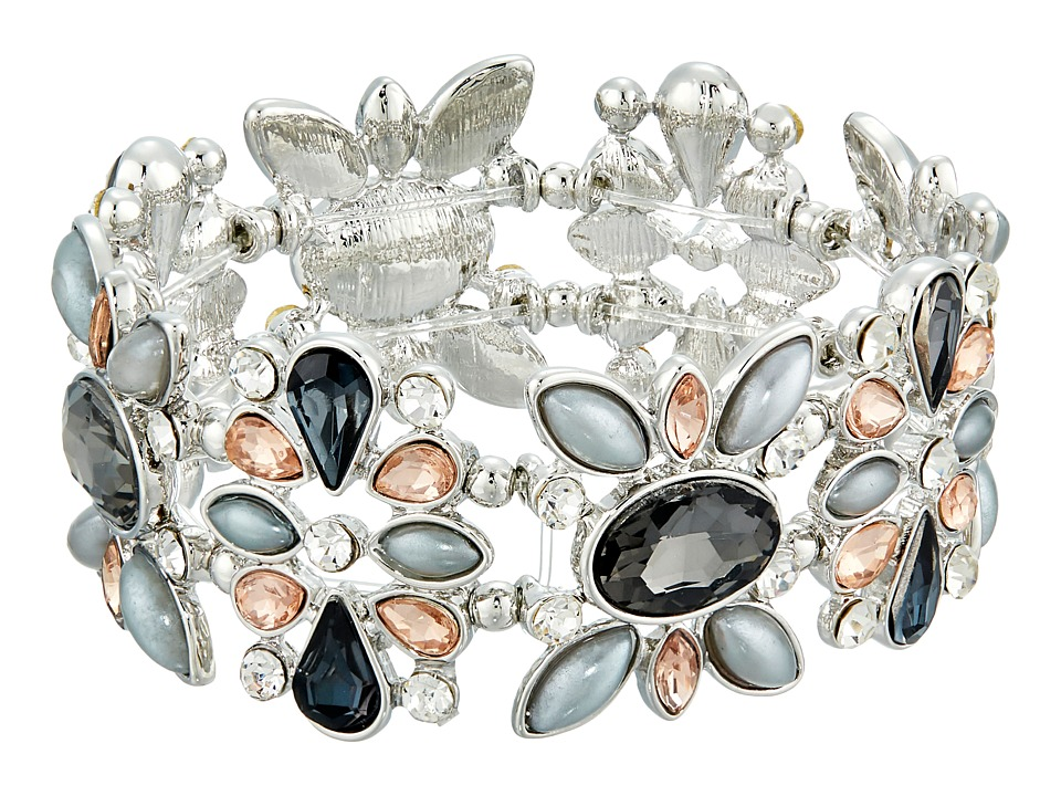 GUESS - Clustered Stone Stretch Bracelet (Silver/Crystal/Peach) Bracelet