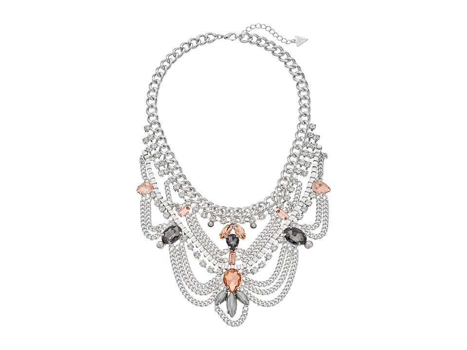 GUESS - Stone Bib Multi Chain Drape Necklace (Silver/Crystal/Peach) Necklace