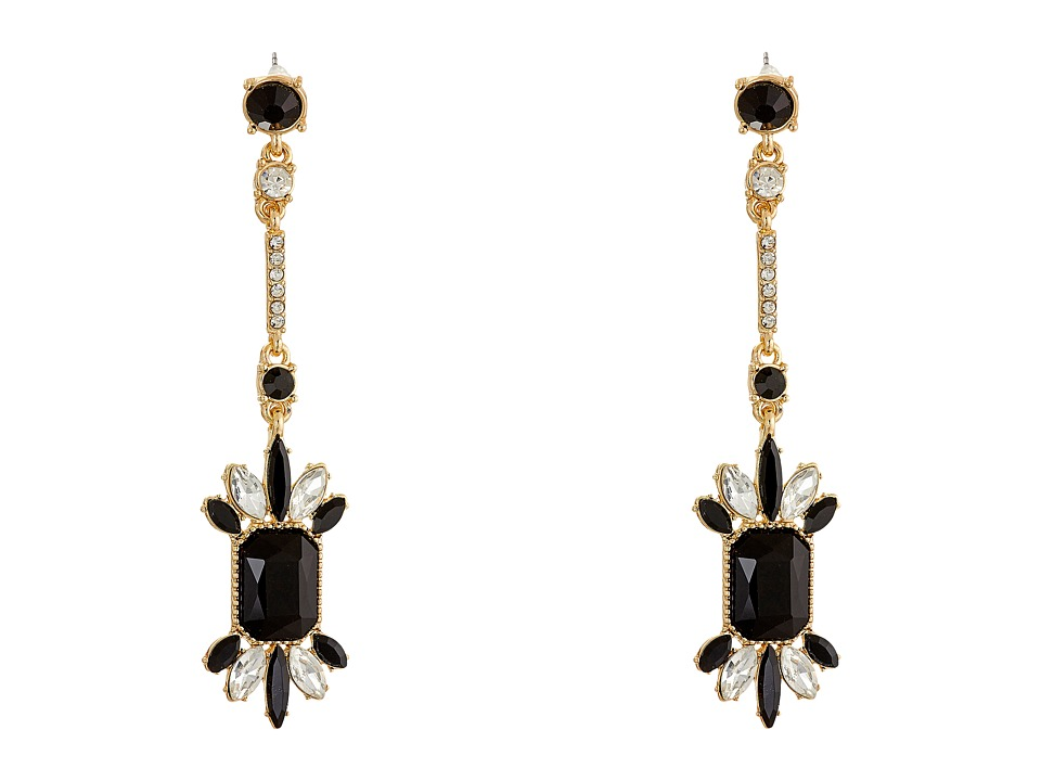 GUESS - Stone Cluster on Stick Linear Drop Earrings (Gold/Crystal/Jet) Earring