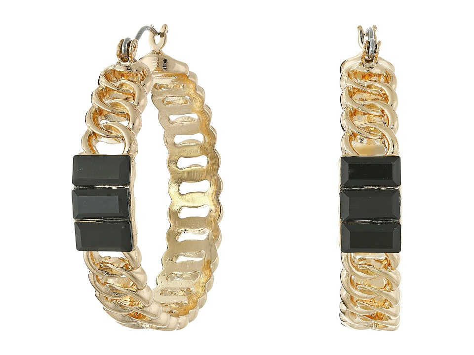 GUESS - Frozen Chain with Stone Hoop Earrings (Gold/Jet) Earring
