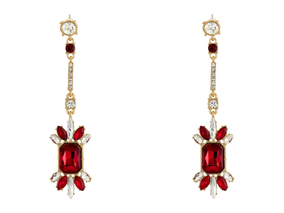 GUESS - Stone Cluster on Stick Linear Drop Earrings (Gold/Crystal/Red) Earring