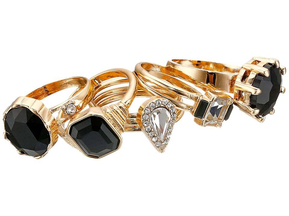 GUESS - Five Stone Band Ring Set (Gold/Crystal/Jet) Ring