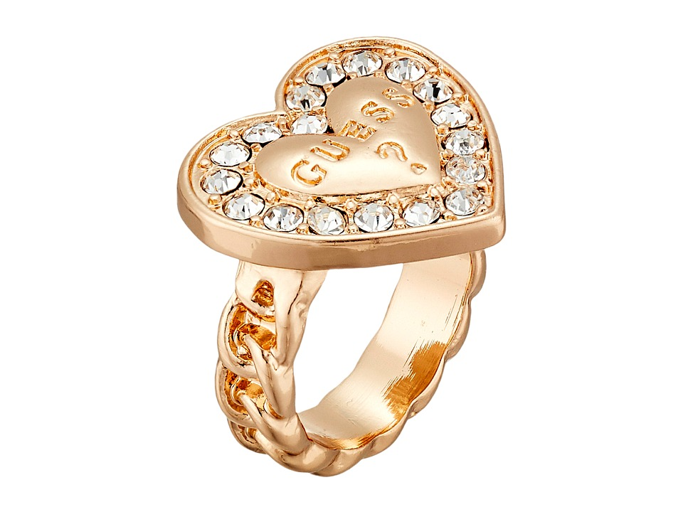 GUESS - Stone Framed Logo Heart Ring (Gold/Crystal) Ring