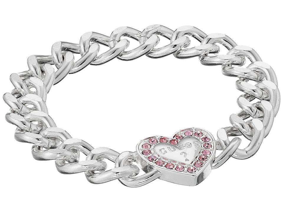 GUESS - Stone Framed Heart on Chunky Chain Bracelet (Slver/Light Rose) Bracelet