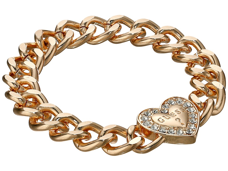 GUESS - Stone Framed Heart on Chunky Chain Bracelet (Gold/Crystal) Bracelet