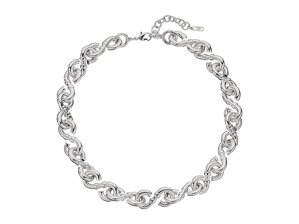 Cole Haan - Small Metal Logo Link Necklace (Silver) Necklace