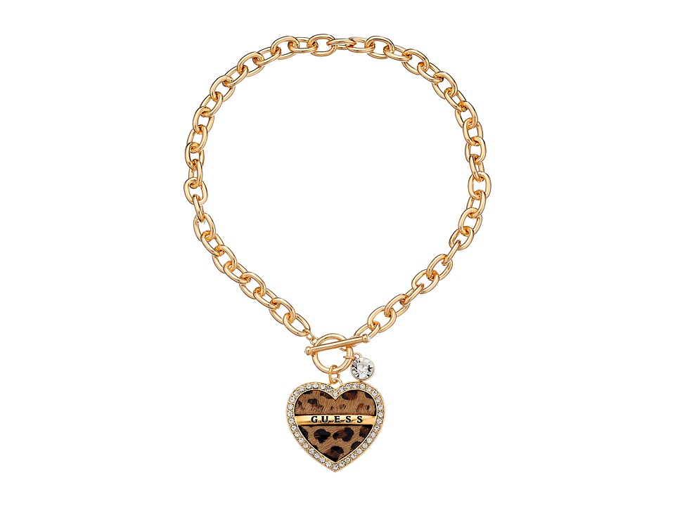 GUESS - Framed Heart Logo Toggle Necklace (Gold/Crystal/Leopard) Necklace