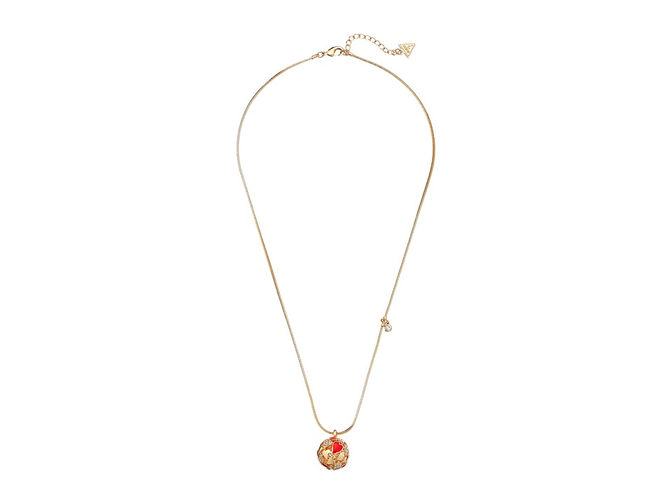 GUESS - Heart Ball Pendant (Gold/Crystal/Red) Necklace