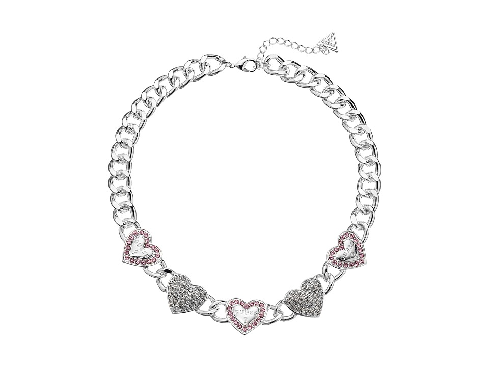 GUESS - Framed and Pave Alternating Hearts Necklace (Silver/Crystal/Light Rose) Necklace
