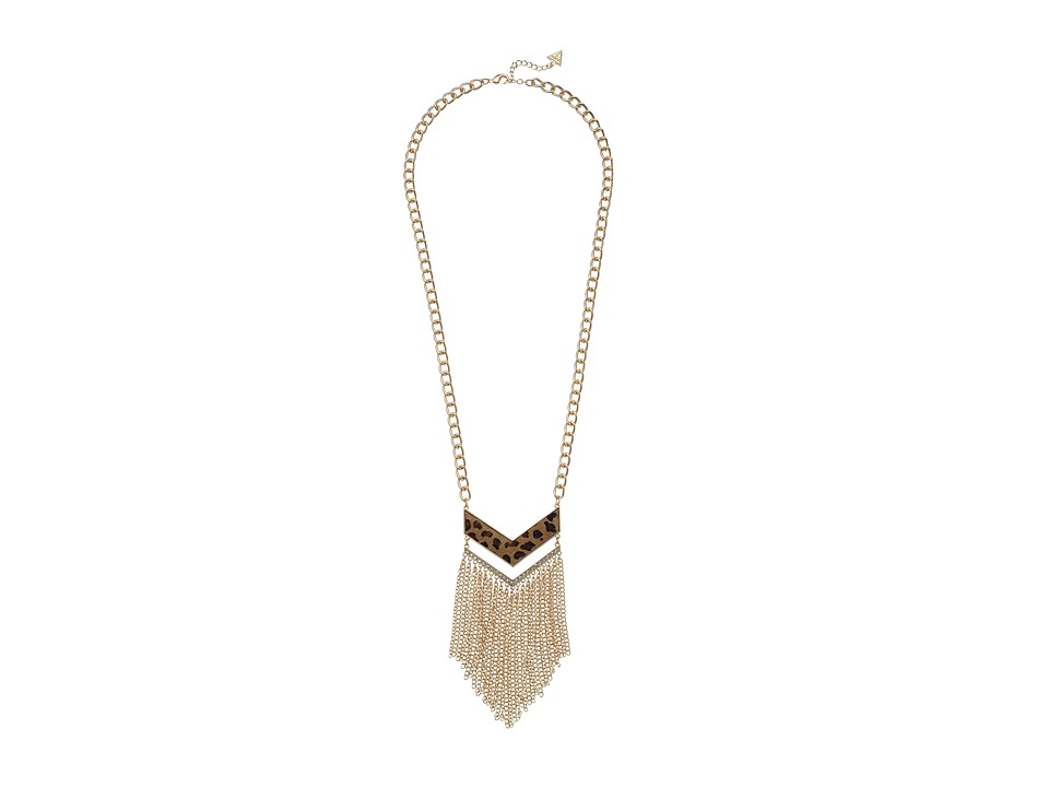 GUESS - Fringed Chevron Pendant (Gold/Crystal/Leopard) Necklace