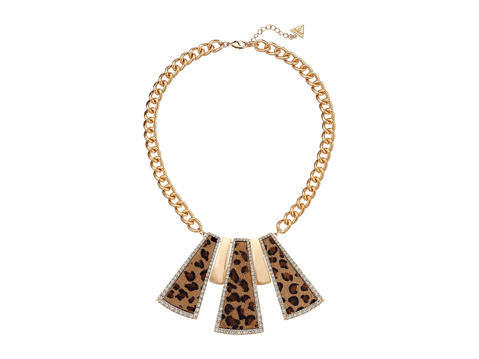 GUESS - Rectangular Shapes Collar Necklace (Gold/Crystal/Leopard) Necklace