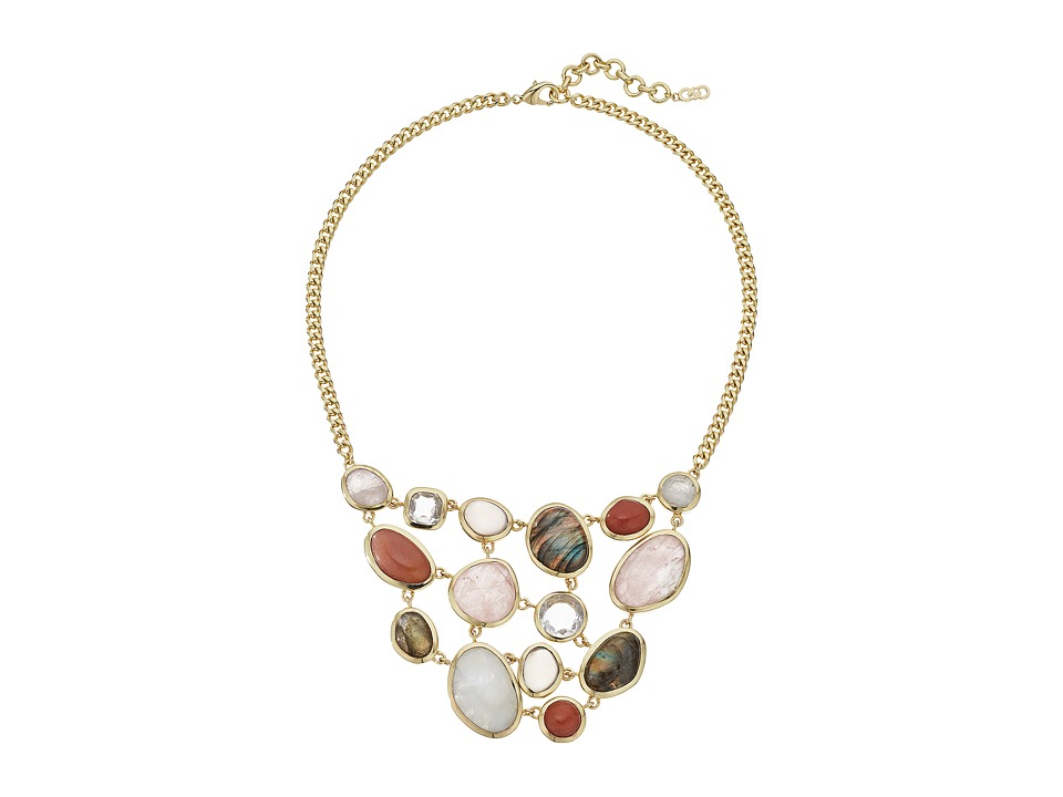 Cole Haan - 17 Drama Bib Stone Necklace (Gold/Crystal/Rainbow/Peach Quartz/Smokey Quartz/Rose Quartz) Necklace