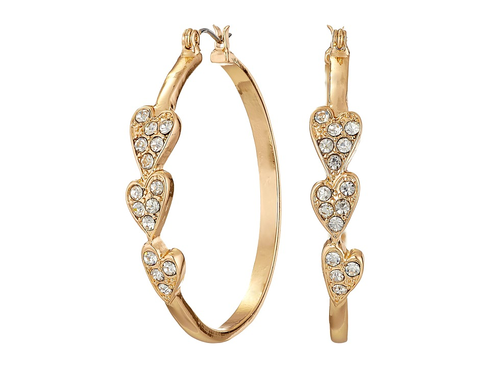 GUESS - 3 Heart Stone Hoop Earrings (Gold/Crystal) Earring