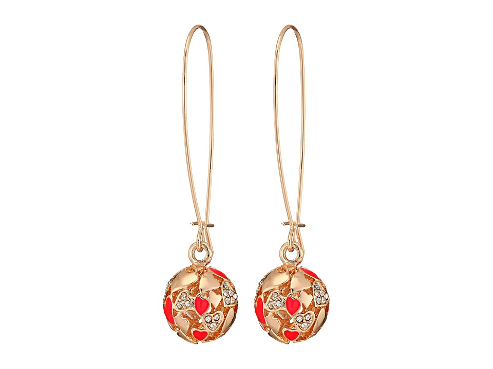 GUESS - Heart Ball on Wire Drop Earrings (Gold/Crystal/Red) Earring