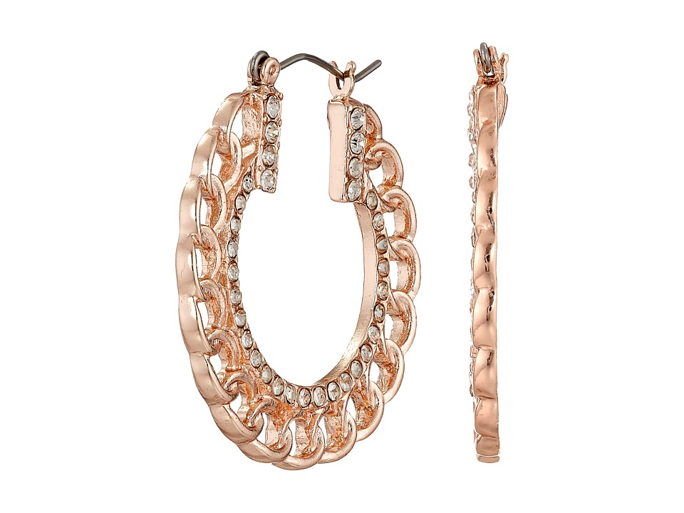 GUESS - Frozen Chain with Stone Hoop Earrings (Gold/Crystal) Earring
