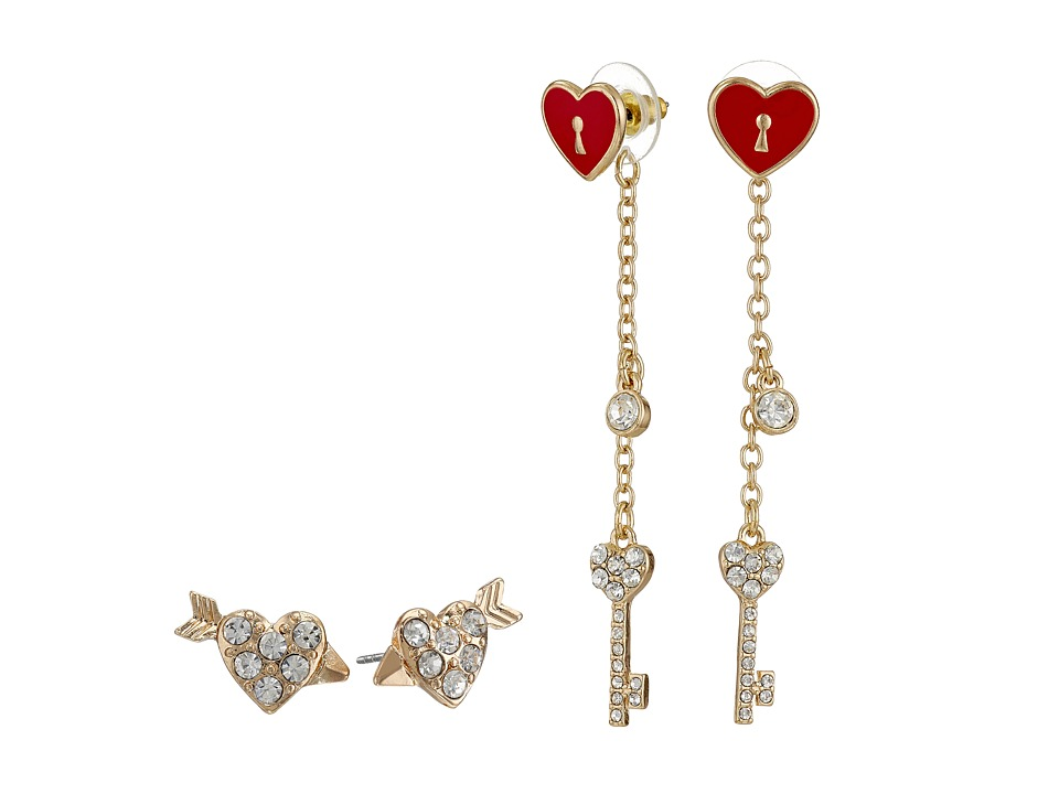 GUESS - Heart Stud and Heart Front to Back Linear Earrings (Gold/Crystal/Red) Earring
