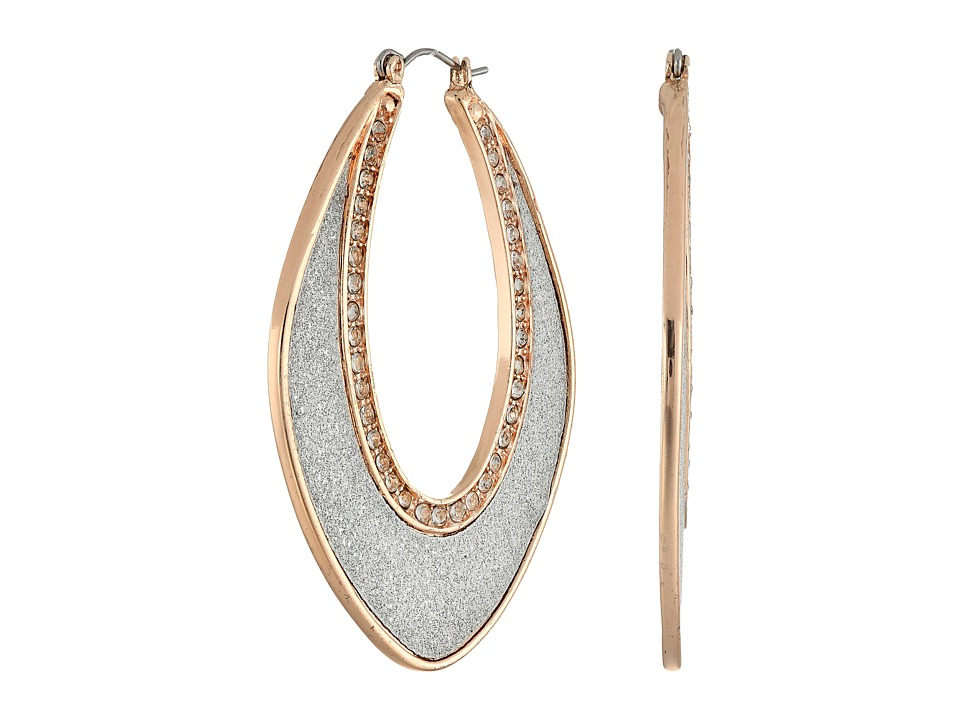 GUESS - Elongated Glitter Hoop w/ Stone Earrings (Rose Gold/Crystal/Silver Glitter) Earring
