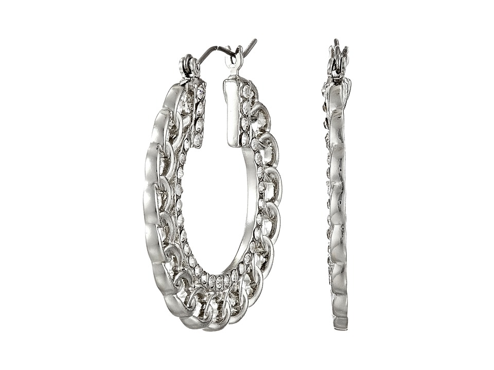 GUESS - Frozen Chain with Stone Hoop Earrings (Silver/Crystal) Earring