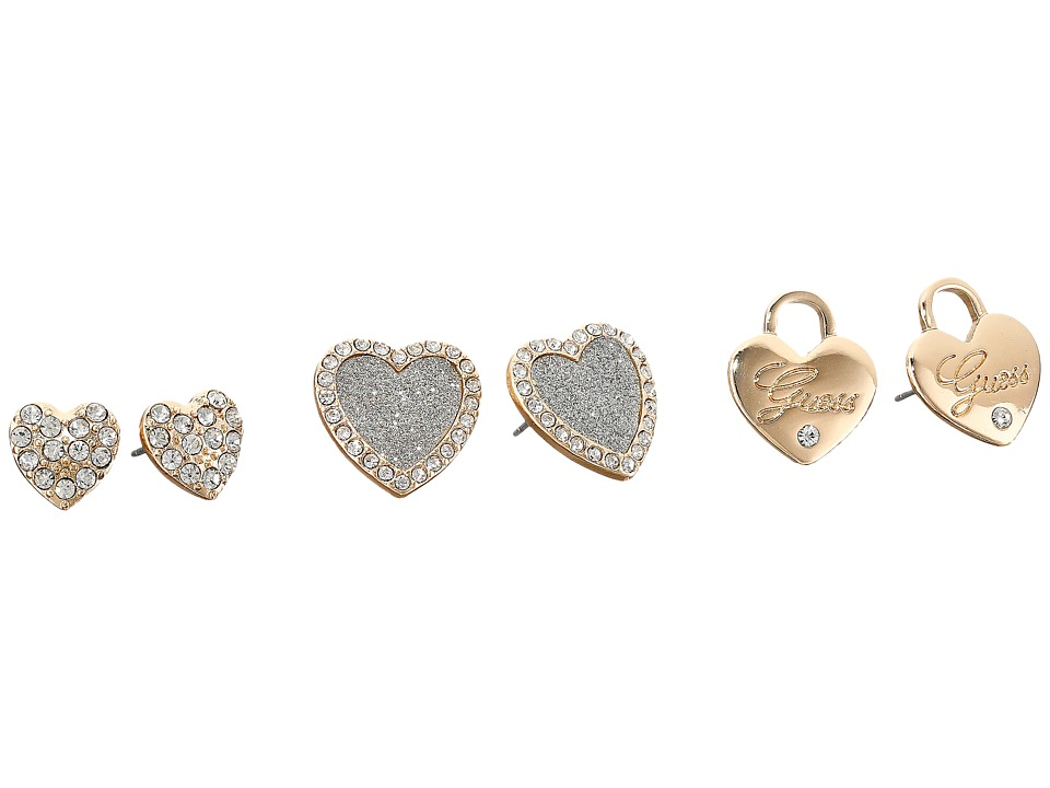 GUESS - Triple Heart Trio Stud Earrings (Gold/Silver Glitter) Earring