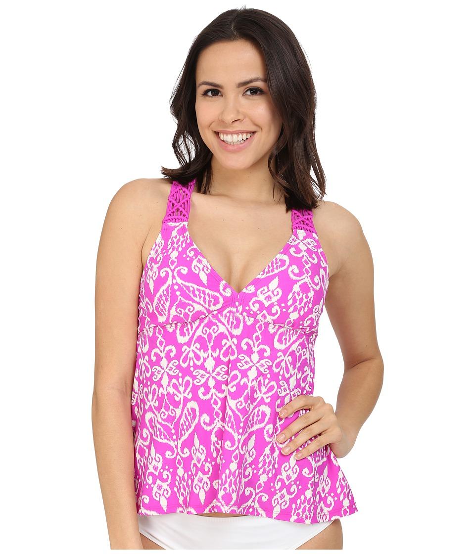 Athena Sand Tropez Macrame Halter Tankini Top (Raspberry) Women