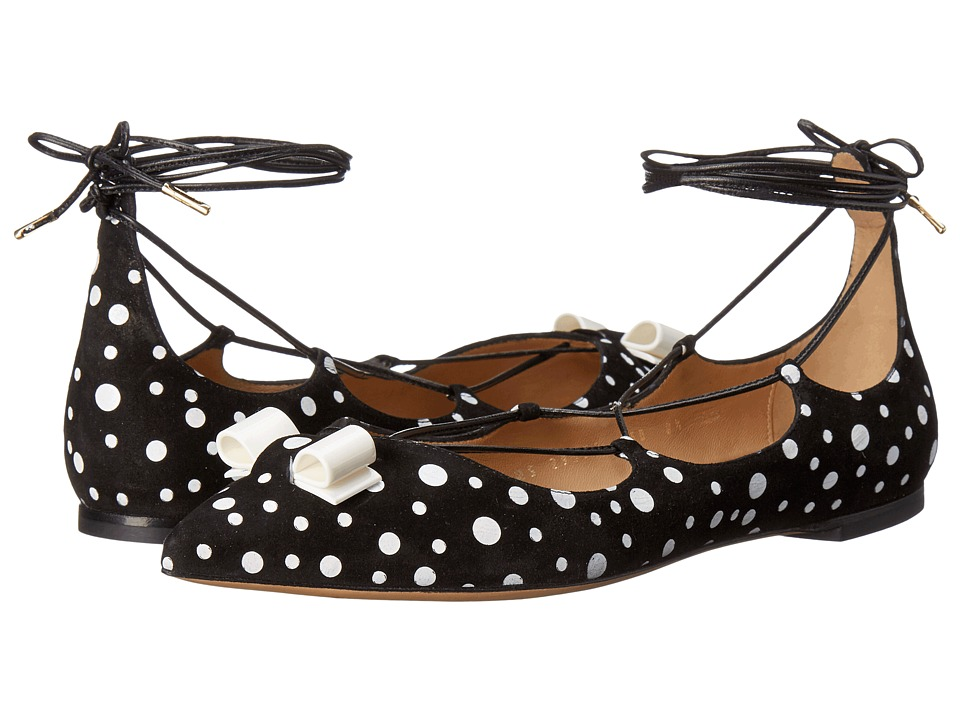 Salvatore Ferragamo Multicolor Suede Lace Up Ballerina Flat (Nero/Bianco Suede) Women