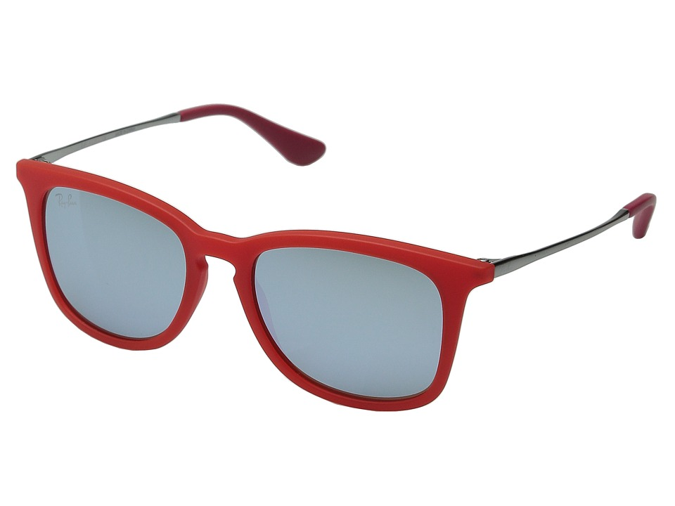 Ray-Ban Junior - RJ9063S 48mm (Youth) (Transparent Red Rubber/Gunmetal/Green Mirror Silver) Fashion Sunglasses