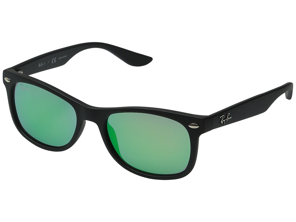 Ray-Ban Junior - RJ9052S New Wayfarer 48mm (Youth) (Matte Black/Light Green Mirror Green) Fashion Sunglasses
