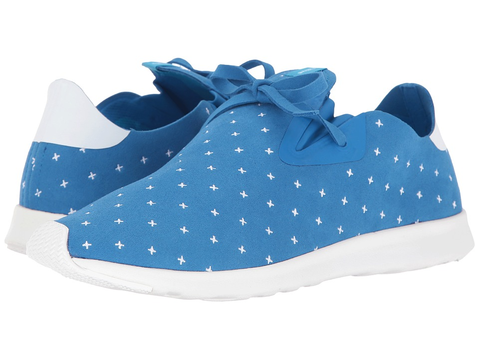 Native Shoes - Embroidered Apollo Moc (Barracuda Blue/Shell White/Shell Rubber/Embroidered) Slip on Shoes