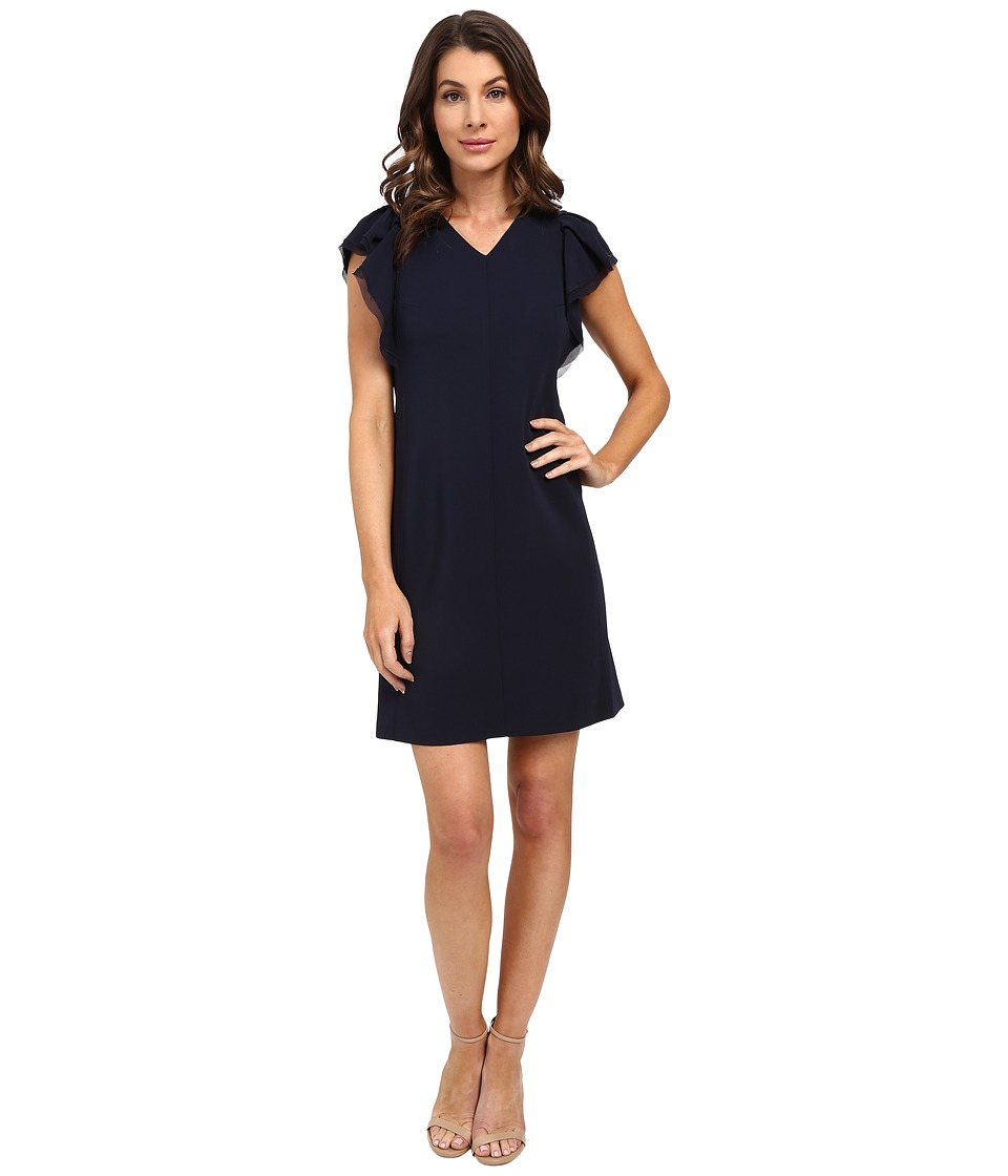 Rebecca Taylor - Sleeveless Ruffle Dress (Navy) Women's Dress
